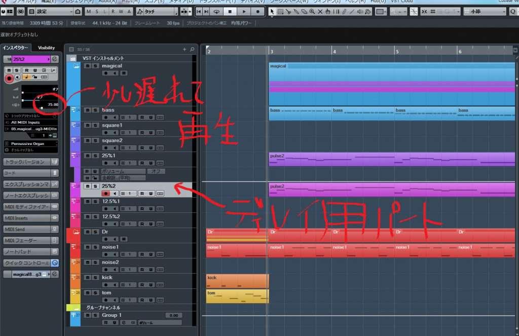 8bit音源打ち込み画面Cubase